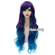 Punk Lolita Blue & Purple Long 75CM Curly Cosplay Ombre Halloween Wig Synthetic