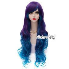 Blue Mixed Purple Long 75CM Curly Cosplay Lolita Harajuku Wig Halloween Hair