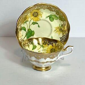 Royal Albert Tea Cup & Saucer Yellow Sunflower Portrait Series