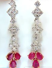 5.94CT NATURAL RED NO HEAT RUBY DIAMOND DANGLE EARRINGS 14KT UNHEATED+