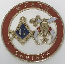 New Mason Shriner Cut Out Car Emblem in Red
