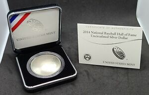 2014 National Baseball Hall of Fame Uncirculated Silver Dollar Coin 1 oz