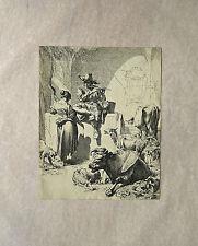 Eau-forte, Scène de genre, XVIIème, École hollandaise d'après N. Berghem