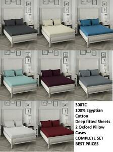 300TC Extra Deep Fitted Bed Sheet Luxurious 100% Egyptian Cotton & Pillow Case