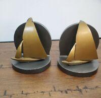 Vintage Sail Boat Ship Metal Bookends Set Lot Pair Nautical Decor Heavy!
