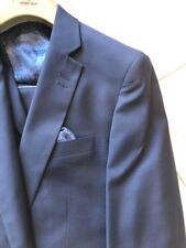 NWT ROSSI MAN Men's Navy Color Solid Wool Suit Classic Fit Two Buttons Size 56L
