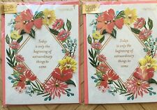 Lot of 2 Papyrus Graduation/Congratulations Cards - Flowers w/Gold Stud Detail