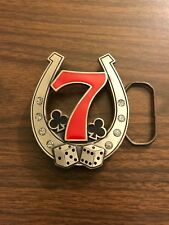 LUCKY NUMBER 7 METAL BELT BUCKLE POKER DICE SEVEN HORSE SHOE Pacsun