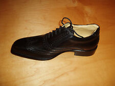 Black leather Torrent Classic wing tip lace up dress shoe for men-made in Italy
