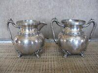 Antique M S Benedict Mfg. Co. Quadruple Plate Matching Sugar & Creamer #369 #585