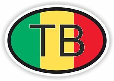 TB Timbuktu Mali bandera código de país Oval Adhesivo para coche de parachoques portátil Tablet PC