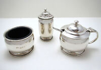 1930s Art Deco 3-Piece Sterling SILVER Salt Pepper Shaker Mustard Pot CRUET SET