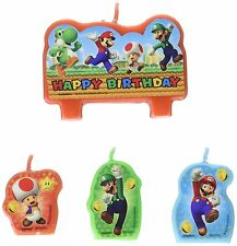 SUPER MARIO CANDLE SET 4pcs ~ Happy Birthday Party Supplies Cake topper
