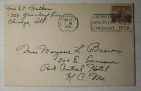Chicago Worlds Fair 729 Century of Progress Ad Slogan Cancel Cover 1939 Not FDC
