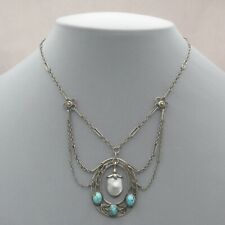 Vtg Antique Arts & Crafts Sterling Silver Turquoise Pearl Festoon Necklace