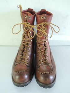 Vintage WESCO 10-Inch Brown Leather Lace Up Work Boots Jobmaster Size 10.5 C