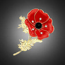 RED Poppy Color Pin Large Enamel Flower Poppy Brooch Badge Remembrance Jewelry