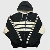 Mens Vintage Adidas Jacket XL Black/White Hooded Retro Style
