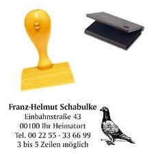 Adressenstempel « TAUBE » mit Kissen - Firmenstempel - Vogel Züchter Pigeon