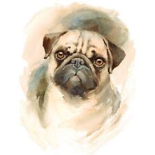 Dog Pug Watercolour Art Print Poster Wall Decor 18X24 Inch