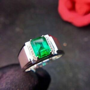 2Ct Gorgeous Natural Mens Colombian Emerald Ring 925 Sterling Silver