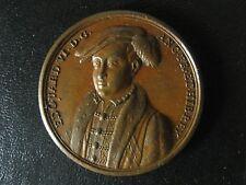 King Edward VI bronze original Jean Dassier medal 1730s 40mm 34g England AE