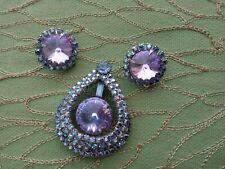 JULIANA BROOCH & CLIP EARRINGS - BLUE RIVOLI & AURORA BOREALIS RHINETONES