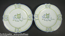 """Set of 2 Hand Painted Elephant Plates 10 3/4"""" Jilly Walsh For Mariposa Italy"""