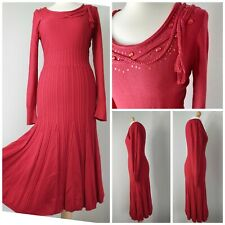 Per Una M&S Red Fitted Flappy Godet Jewels Ruffled Midi Jumper Dress 10 12 Party