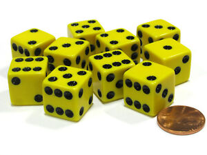 Set of 10 Six Sided Square Opaque 16mm D6 Dice - Yellow with Black Pip Die