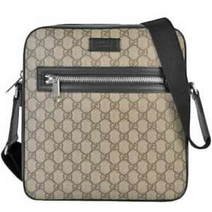 Pre-owned Gucci 473878 K5RLN 9769 GG Supreme Messenger Bag Beige PVC Leather F/S