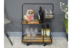 Compact Industrial Wine / Drinks Trolley - Iron Frame & Wood Shelves