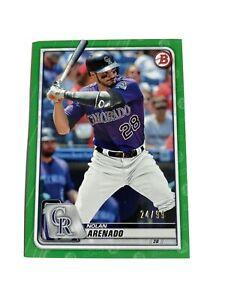 2020 bowman baseball nolan arenado green paper parallel 24/99