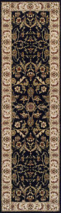 High Quality Wool Navy Blue floral Traditional Classic Oriental Hall Rugs Runner
