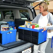 Blue Plastic Storage 62L Stackable Basket Tote Container Foldable Utility Crate