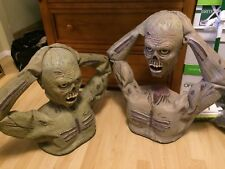 Lot 2 Animated ZOMBIE HEAD LIFTING RIPPING TORSOS CORPSE PROPS SPIRIT HALLOWEEN