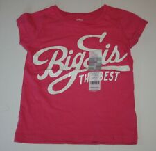 New Carter's Pink Big Sister Top Sparkle Glitter Graphic Tee 4t 5 year Kid Girls
