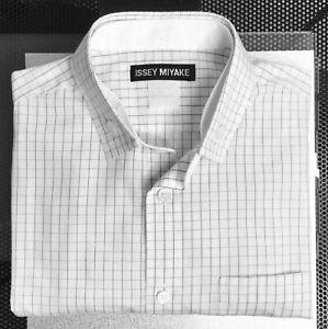 ISSEY MIYAKE: Men's Size M (2) Long Sleeve White Check Shirt - Made in Japan