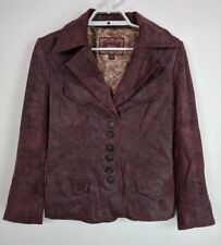 Guess Womens Genuine Leather Jacket Lined Button Up Burgundy Size Medium