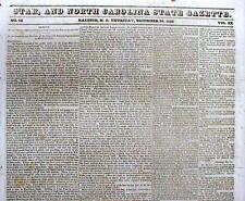 Original 1829 Raleigh NORTH CAROLINA newspaper w ad SLAVES WANTED TO BUY forCASH