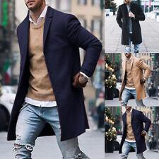 Mens Winter Warm Coat Trench Long Jacket Single Breasted Peacoat Jacket Overcoat
