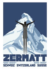 ZERMATT Matterhorn Switzerland SKI JUMPING Vintage c.1931 Poster Reprint