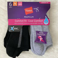 Hanes Women's No Show Socks 6 Pairs Nwt Black And Gray