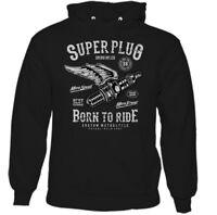 Super Plug Mens Biker Hoodie Motorbike Bike Custom Motorcycle Enthusiast Indian