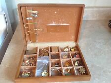 Vintage Men's Jewelry Box Gold Loin 37 Peice Pins Tie clips Key Chains
