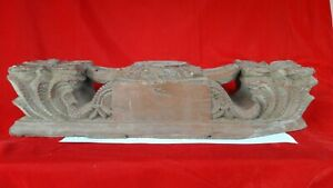 Antique Floral Panel Corbel Pillar Top Beam Wood Plaque Window Architectural w2