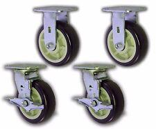 """Set of 4 Plate Caster w/ 6"""" x 2"""" Polyurethane Wheel Swivel/Rigid Trolley Cart"""