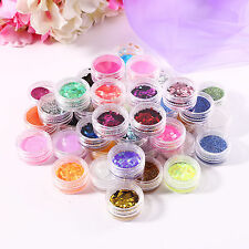 48 Colors Glitter Dust Powder Beads Set Nail Art Tips Decoration Crafts DIY