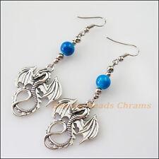 Winsome Silver Retro Dragon Sky Blue Glass Dangle Hook Earrings Women Jewelry