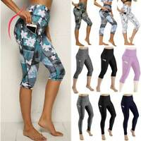 Women High Waist Yoga Pants Capri Sports Fitness Jogging 3/4 Leggings Gym Pocket